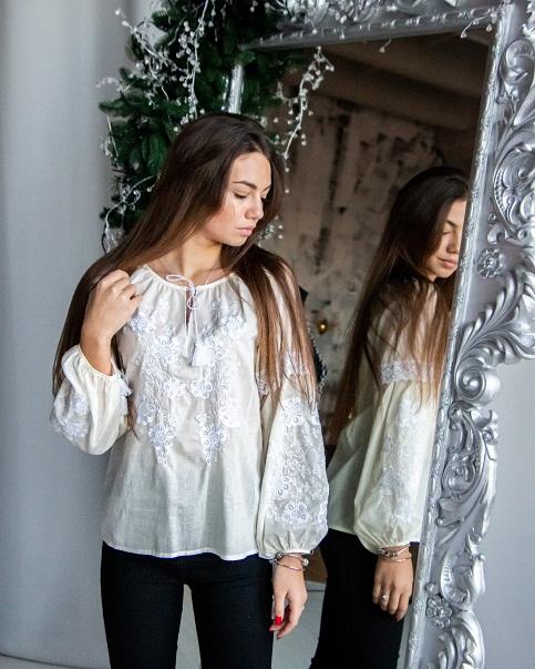 Купити жіночу вишиту сорочку  Меліса ( біла) в Україні від Галичанка фото 1