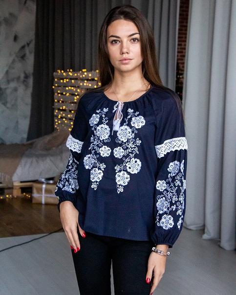 Купити жіночу вишиту сорочку Меліса ( темно синій) в Україні від Галичанка фото 1