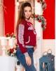 Купити жіночий світшот з вишивкою Зимова історія (вишневий) в Україні від Галичанка фото 2