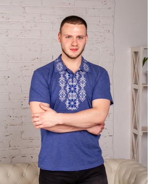 Купити чоловічу футболку вишиванку Руслан   (джинс-синій  з синім) в Україні від Галичанка фото 1