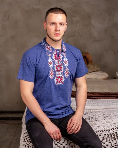 Купити чоловічу футболку вишиванку Руслан (джинс-синій з червоним ) в Україні від Галичанка фото 1