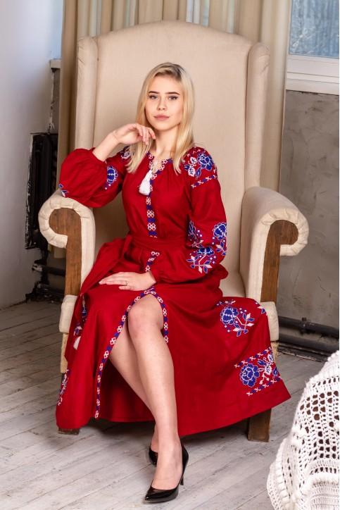 Купити вишиту сукню Паризька троянда (вишневий) в Україні від виробника Галичанка фото 1