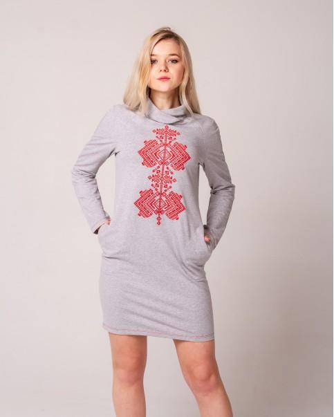 Купити вишиту сукню Гердан (сірий з червоним) в Україні від виробника Галичанка фото 1