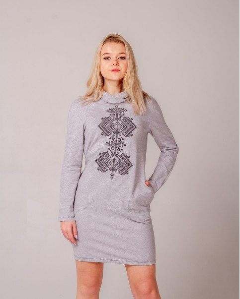 Купити вишиту сукню Гердан (сірий з чорним) в Україні від виробника Галичанка фото 1