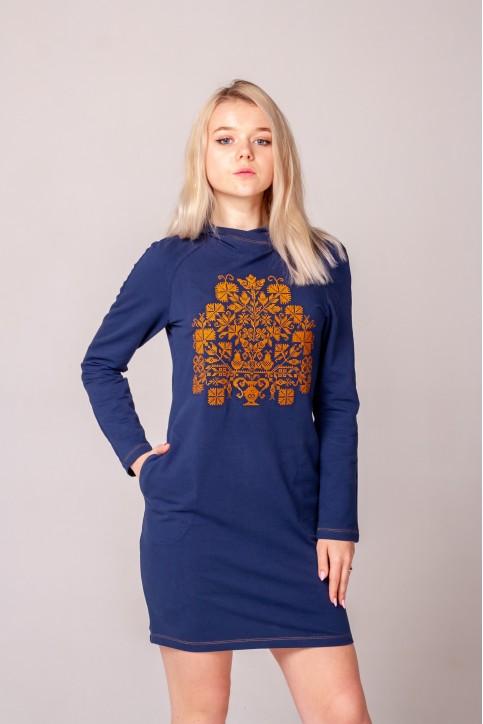 Купити вишиту сукню Гердан (синій з золотом) в Україні від виробника Галичанка фото 1