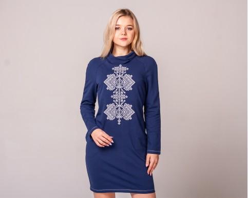 Гердан (синя з білим) - жін.плаття д/р трик з стійкою  синій т. виш.біла Гердан фото 1