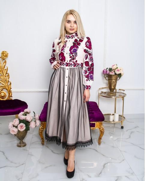 Купити вишиту сукню Жанетта ( пудра)  в Україні від виробника Галичанка фото 1