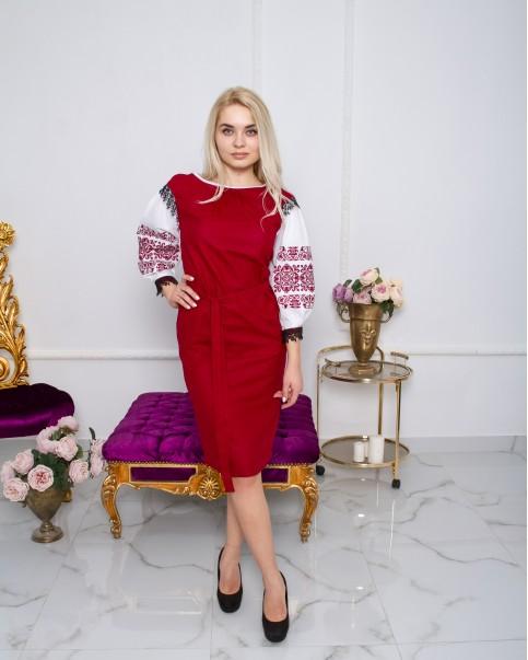 Купити вишиту сукню  Даяна  ( вишневий)  в Україні від виробника Галичанка фото 1
