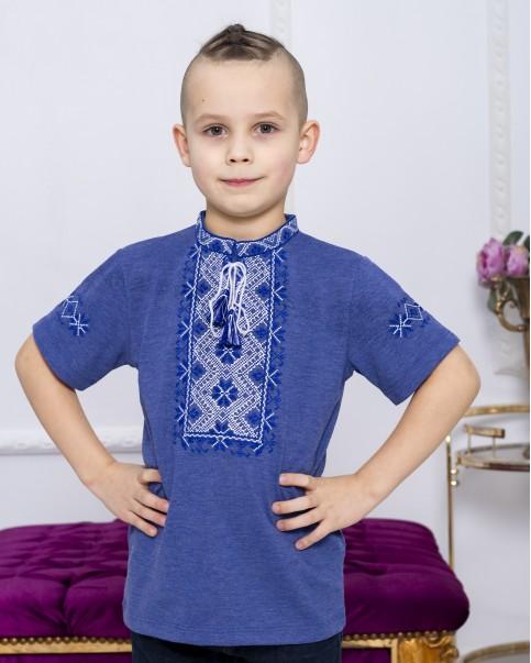 Купити вишиту футболку для хлопчика Зорянчик (джинс з синім) – ціна від виробника Галичанка фото 1