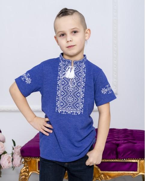Купити вишиту футболку для хлопчика Зорянчик (джинс з сірим) – ціна від виробника Галичанка фото 1