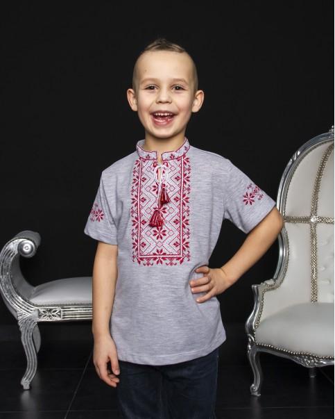 Купити вишиту футболку для хлопчика Зорянчик (сіра з червоним) – ціна від виробника Галичанка фото 1