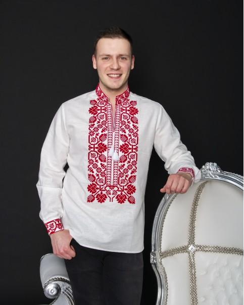 Купити чоловічу вишиту сорочку Всеволод (льон білий з червоним) в Україні від Галичанка фото 1