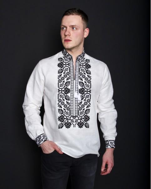 Купити чоловічу вишиту сорочку  Всеволод (білий з чорним) в Україні від Галичанка фото 1
