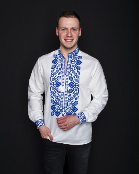 Купити чоловічу вишиту сорочку Всеволод (льон білий з синім) в Україні від Галичанка фото 1