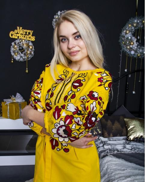 Купити вишиту сукню Меланія ( жовтий з червоним)  в Україні від виробника Галичанка фото 1