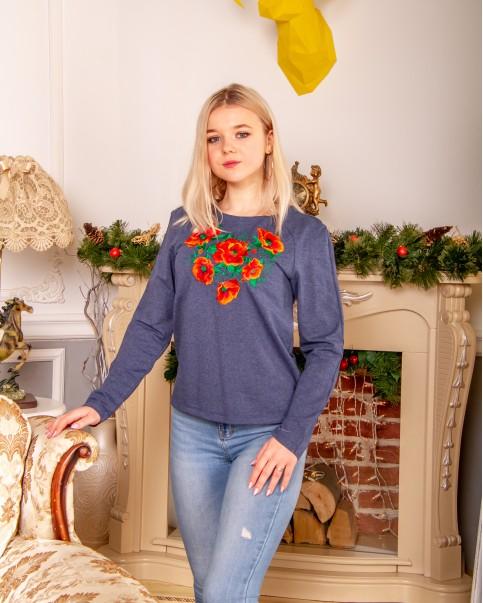 Купити жіночий світшот з вишивкою Рубін (джинс) в Україні від Галичанка фото 1