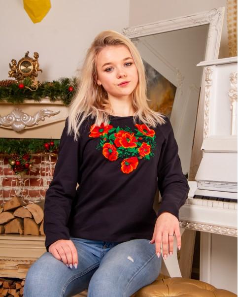 Купити жіночий світшот з вишивкою Рубін (темно синій) в Україні від Галичанка фото 1