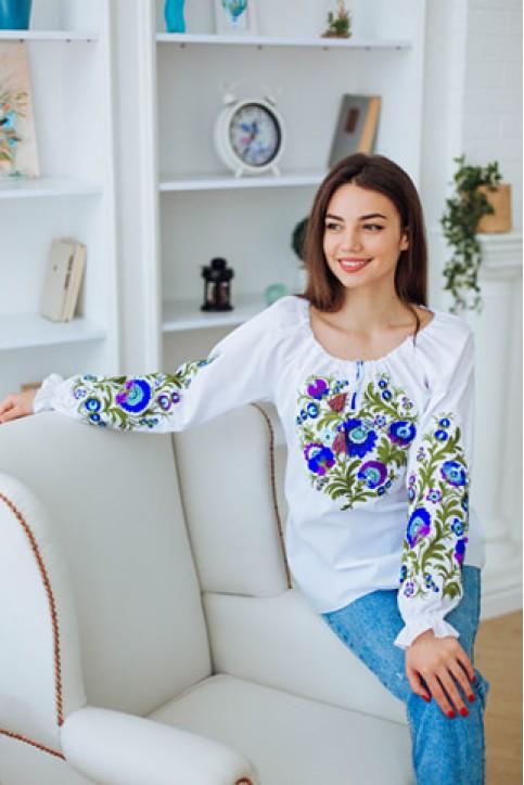 Купити жіночу вишиту сорочку Писанка (біла з синім)в Україні від Галичанка фото 1