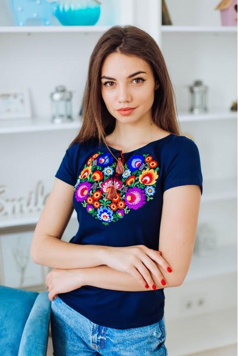 Купити жіночу футболку вишиванку Семицвіт (темно синя) в Україні від Галичанка фото 1