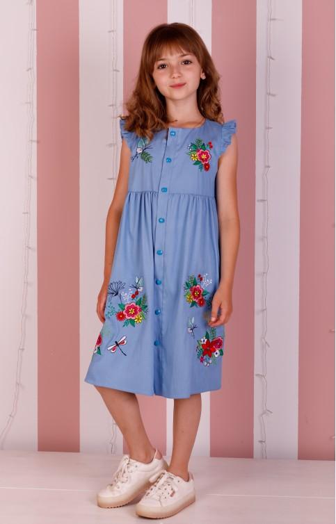 Купити вишите дитяче плаття Мамине Сонечко (джинс) – ціна від виробника Галичанка фото 1