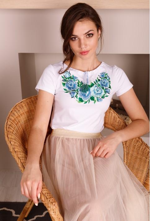 Купить женскую футболку вышиванку Тиффани (белая с голубым) в Украине от Галычанка фото 1