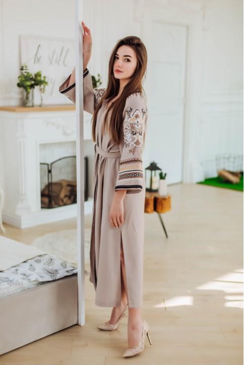 Купити вишиту сукню Єремія кавова з коричневим в Україні від виробника Галичанка фото 1