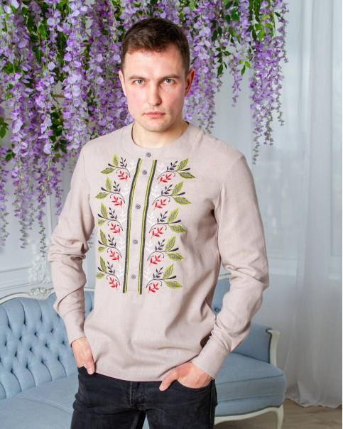 Купити чоловічу вишиту сорочку Єремій кавовий з оливкою в Україні від Галичанка фото 1