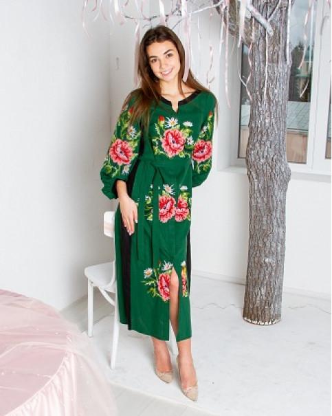 Купити вишиту сукню Роксолана (зелено-чорна) в Україні від виробника Галичанка фото 1
