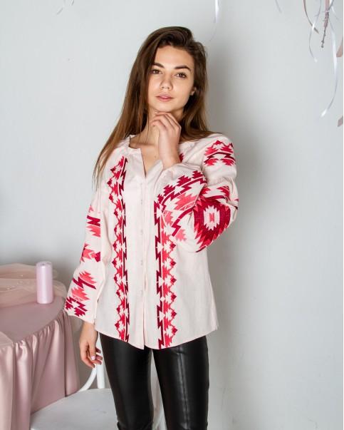 Купити жіночу вишиту сорочку Трембіта (пудра)в Україні від Галичанка фото 1