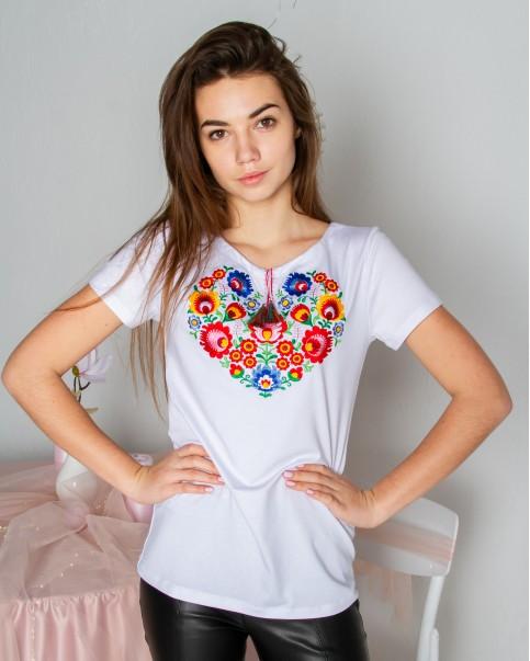Купити жіночу футболку вишиванку Семицвіт (біла) в Україні від Галичанка фото 1