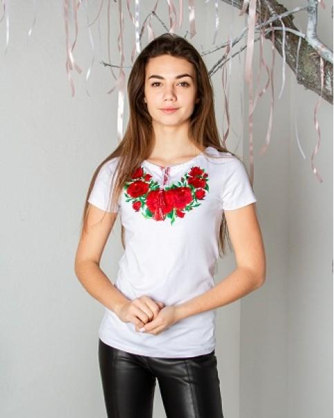 Купити жіночу футболку вишиванку Глорія (біла) в Україні від Галичанка фото 1