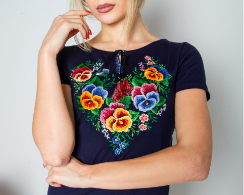 Купити жіночу футболку вишиванку Анютка (темно синя) в Україні від Галичанка фото 1
