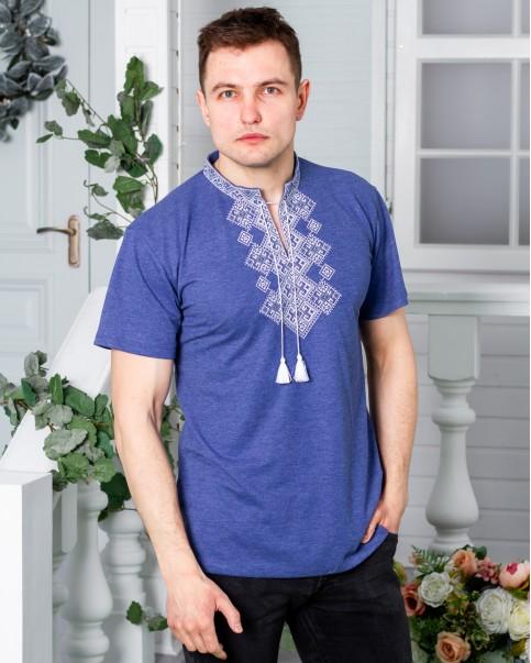 Купити чоловічу футболку вишиванку Бажан (джинс синій з сірим) в Україні від Галичанка фото 1