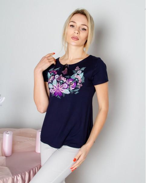 Купити жіночу футболку вишиванку Петриківка (голуба) в Україні від Галичанка фото 1