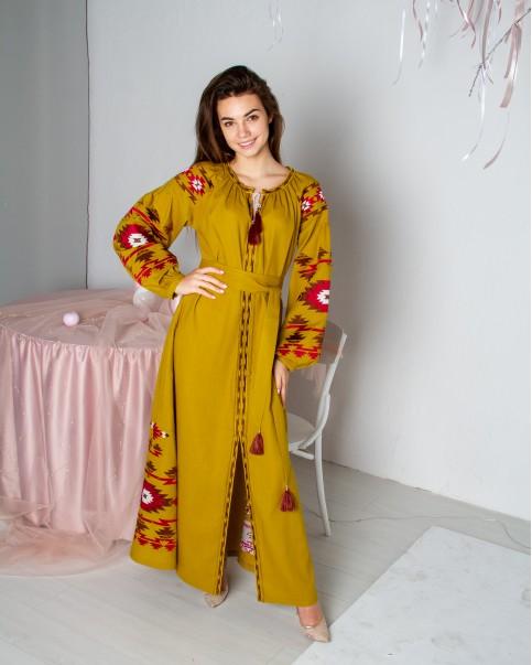 Купити вишиту сукню Калейдоскоп (гірчичне) в Україні від виробника Галичанка фото 1