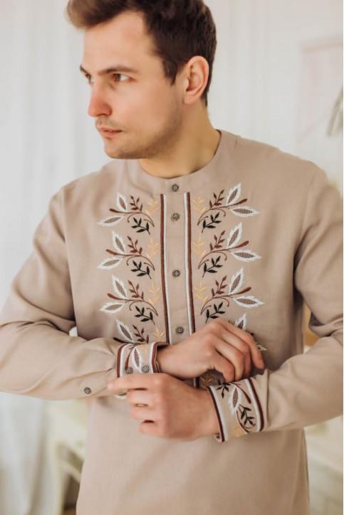 Купити чоловічу вишиту сорочку Єремій кавовий з коричневимв Україні від Галичанка фото 1