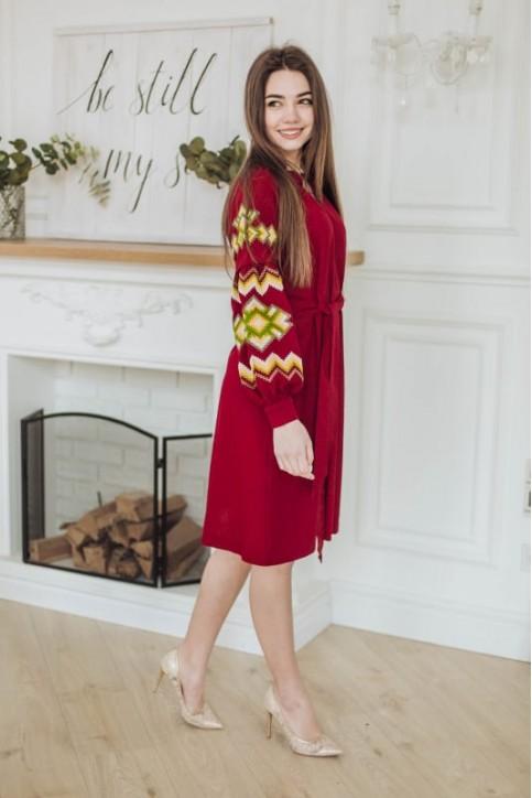 Купити вишиту сукню Христина вишнева з зеленим в Україні від виробника Галичанка фото 1