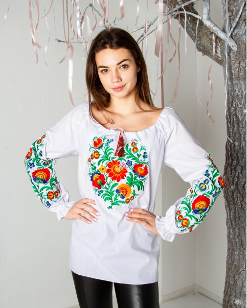 Купити жіночу вишиту сорочку Писанка (біла з червоним)в Україні від Галичанка фото 1