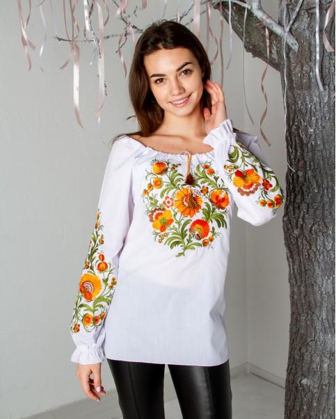 Купити жіночу вишиту сорочку Писанка (біла з золотом)в Україні від Галичанка фото 1
