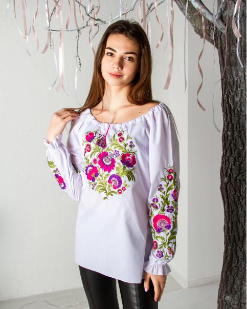 Купити жіночу вишиту сорочку Писанка (біла з фіолетовим)в Україні від Галичанка фото 1