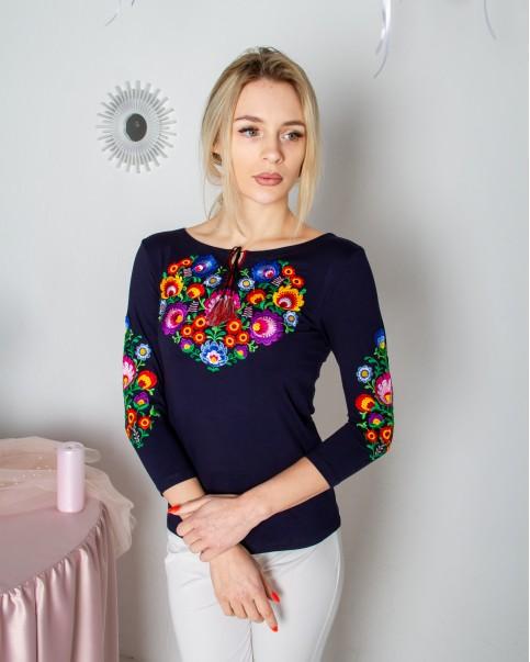 Купити жіночу футболку вишиванку Семицвіт плюс  (темно синя) в Україні від Галичанка фото 1