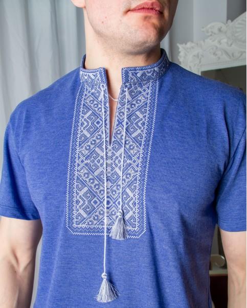 Купити чоловічу футболку вишиванку Традиція (джинс синій з сірим) в Україні від Галичанка фото 1