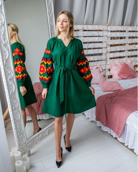 Купити вишиту сукню Христина (зелене з таракотовим) в Україні від виробника Галичанка фото 1