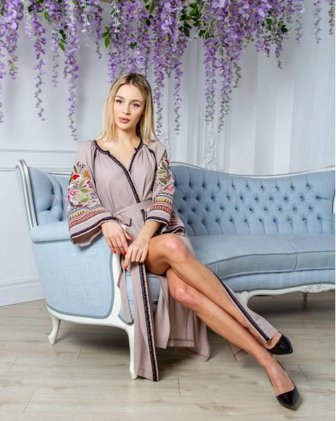 Купити вишиту сукню Єремія  (кавова з оливковим) в Україні від виробника Галичанка фото 1