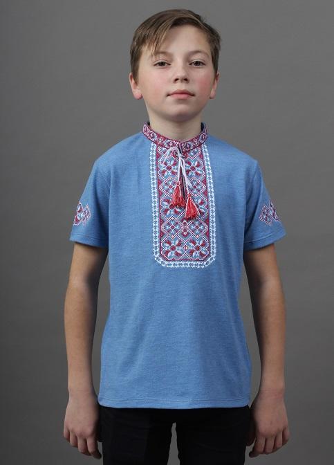 Купити вишиту футболку для хлопчика Іванко (голуба з червоним) – ціна від виробника Галичанка фото 1