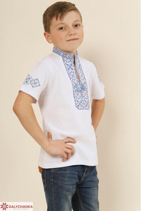 Купити вишиту футболку для хлопчика Іванко (біла з синім) – ціна від виробника Галичанка фото 1