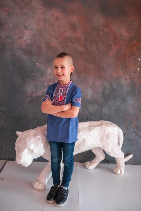 Купити вишиту футболку для хлопчика Іванко (темно голуба з червоно білим) – ціна від виробника Галичанка фото 1