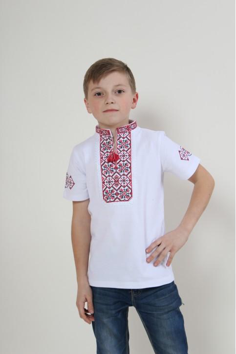 Купити вишиту футболку для хлопчика Іванко (біла з червоним) – ціна від виробника Галичанка фото 1