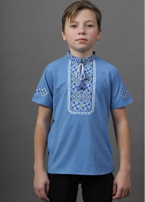 Купити вишиту футболку для хлопчика Іванко (голуба з синім) – ціна від виробника Галичанка фото 1