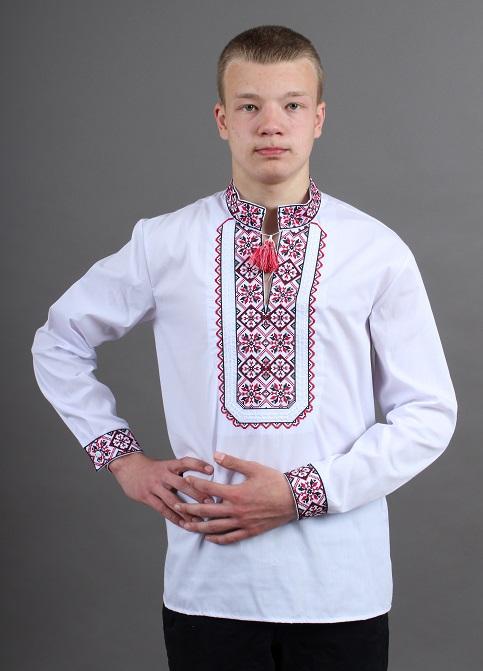 Вишиванка для хлопчика Капрал підліток (біла з червоним) – купити в УкраїнівідГаличанка фото 1